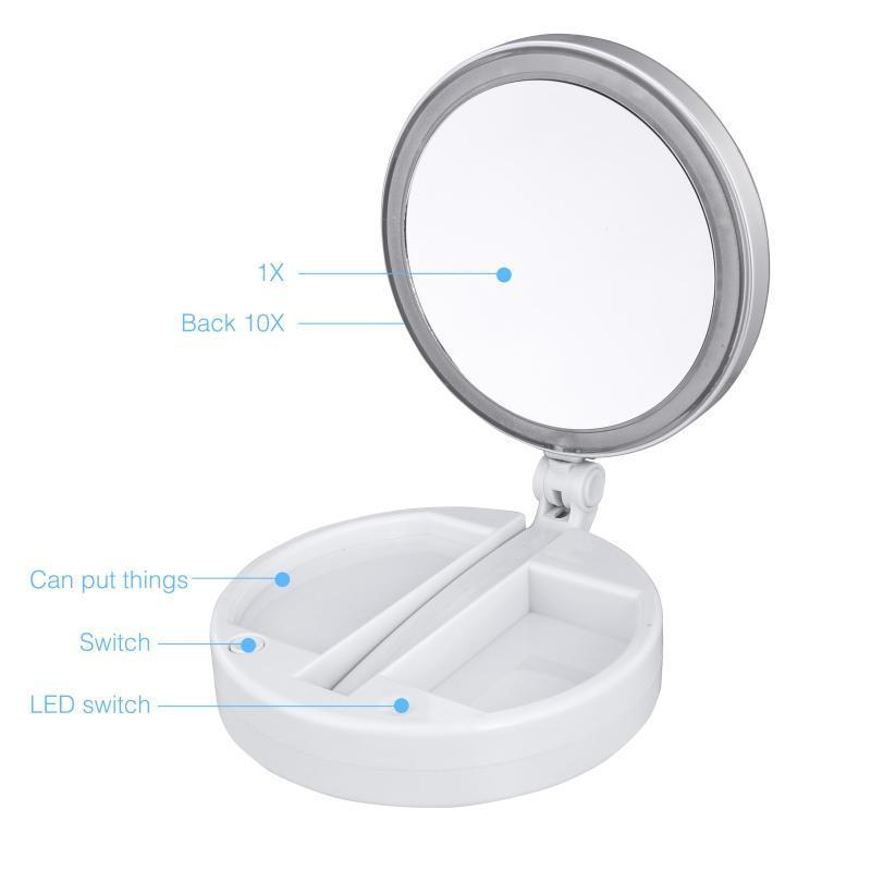 LED Makeup Mirror Double-sided Rotation Mirror Touch And Tabletop Lamp