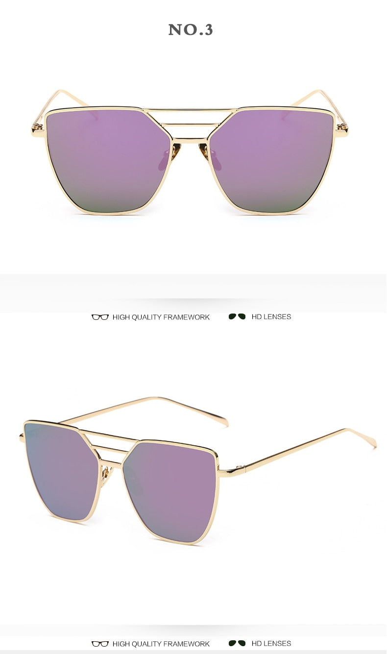 Metal Luxury Vintage Coated Mirror Sunglasses