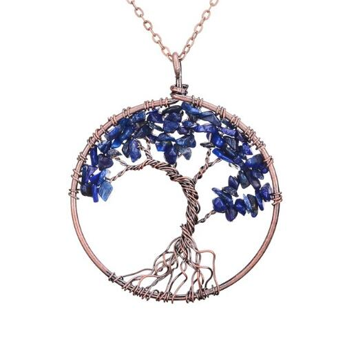 Crystal Natural Stone Tree Pendant