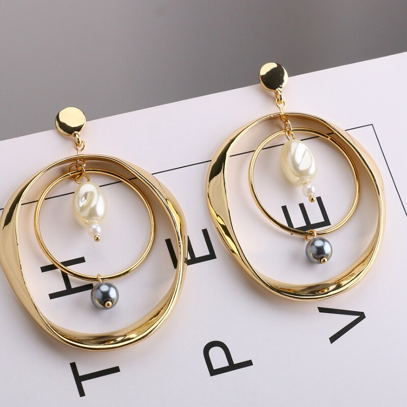 Alloy Double Circle Pearls Dangle Earrings