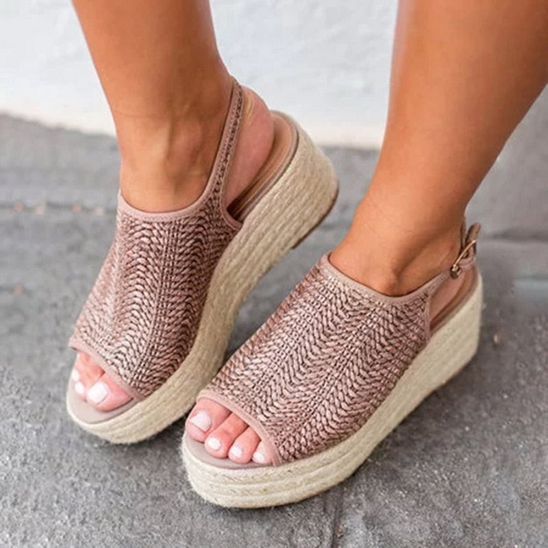 Women 2020 Hemp Sandal Sewing Female Beach Shoes Wedge Heels Peep Toe Platform Shoes Hasp Sandals