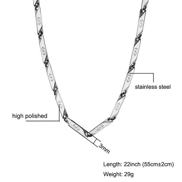 High Polished US Dollar Pattern Chain