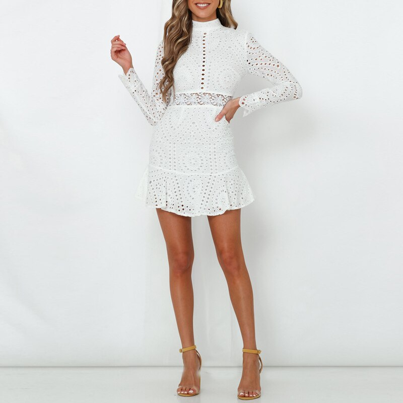 Elegant White Lace Embroidery Mini Party 2020 Dress Vintage Slim Short Formal Dress Long Sleeve Ruffle Hollow Out Office Dress