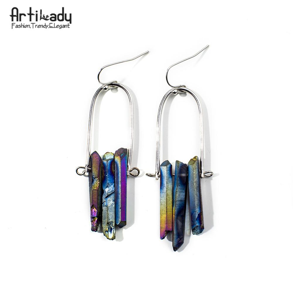 Artilady natural raw crystal earrings