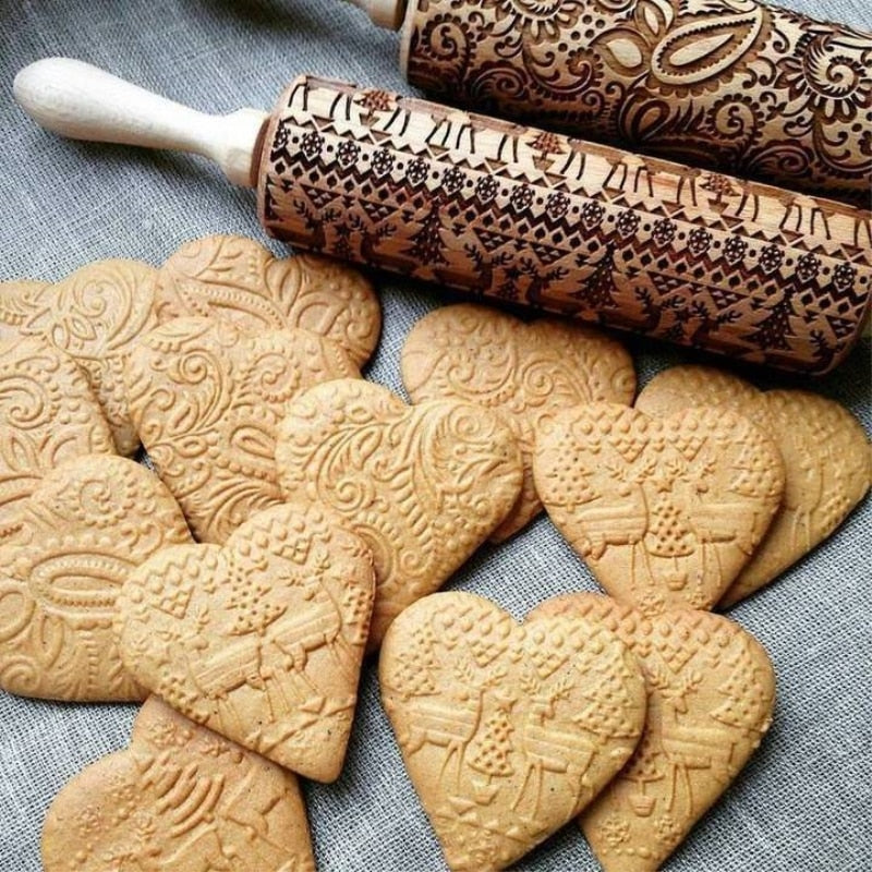 Christmas Embossing Rolling Pin Baking