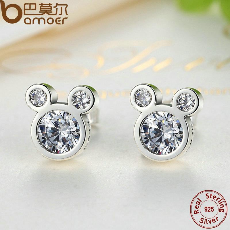 925 Sterling Silver Dazzling Miky Mouse Earrings