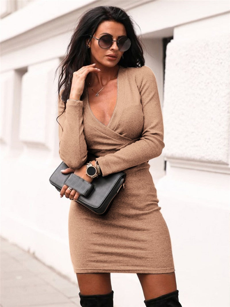 Fashion Women Long Sleeve Deep V Neck Dress