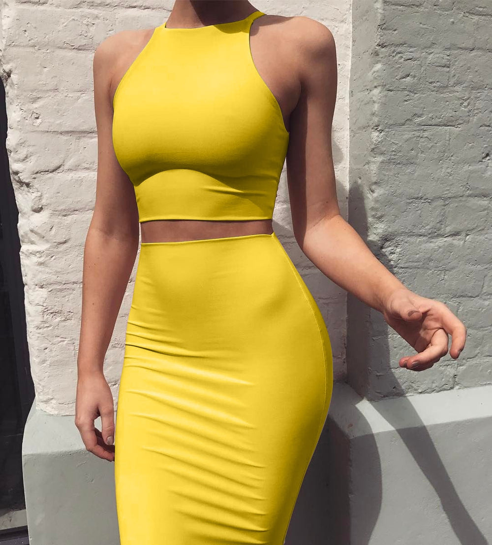 Crop Top and Skirt Two Pieces Dress Set Yellow Club 2020 Summer Outfit Sexy Clothes for Women Matching Sets