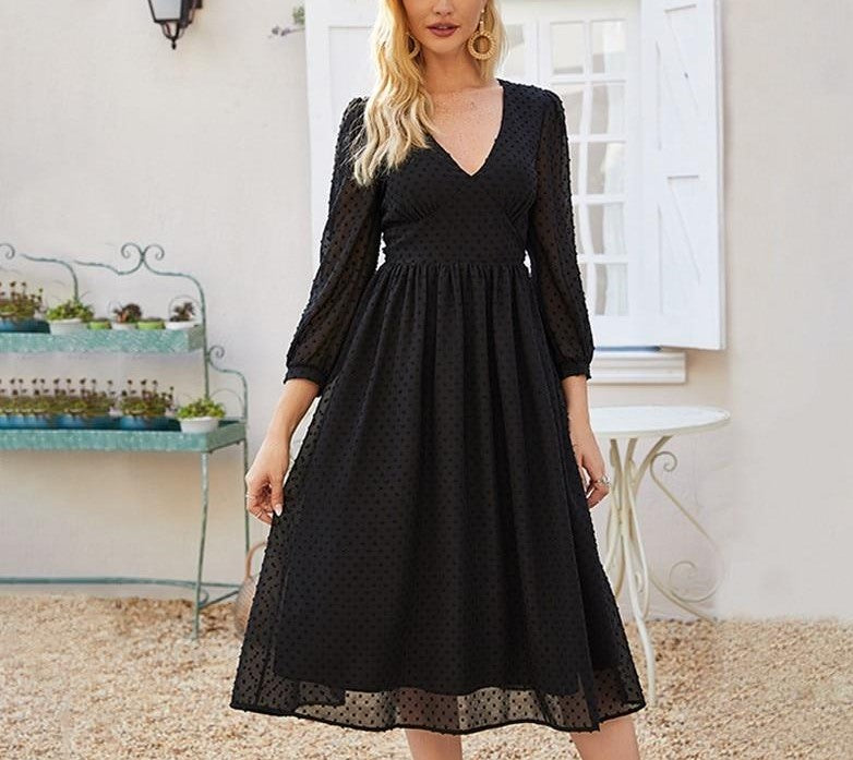 Elegant V-neck Chiffon Midi Dress For Women