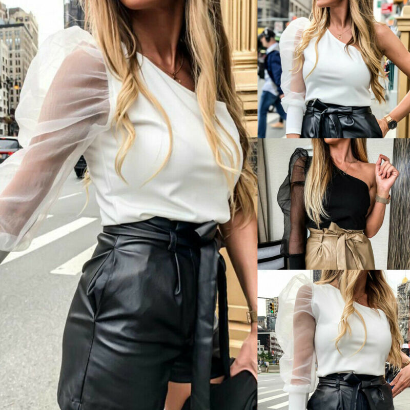 Sheer Puff Sleeve Top One Shoulder Lady Shirt