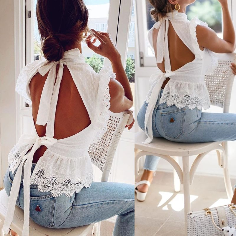 Backless Lace Embroidery Women Top