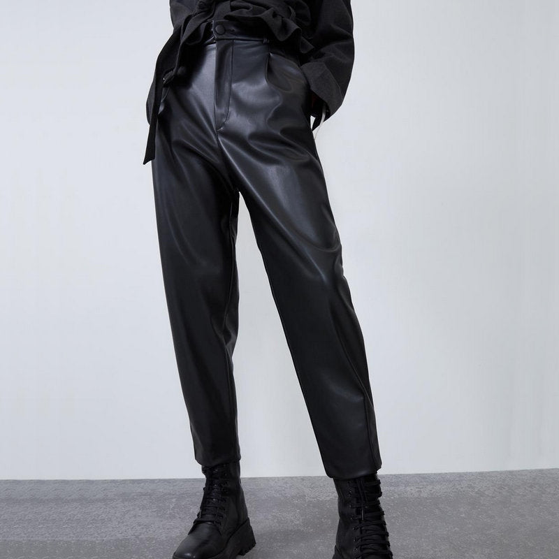 2020 New Fashion High Waist Black Leather Lady Pants