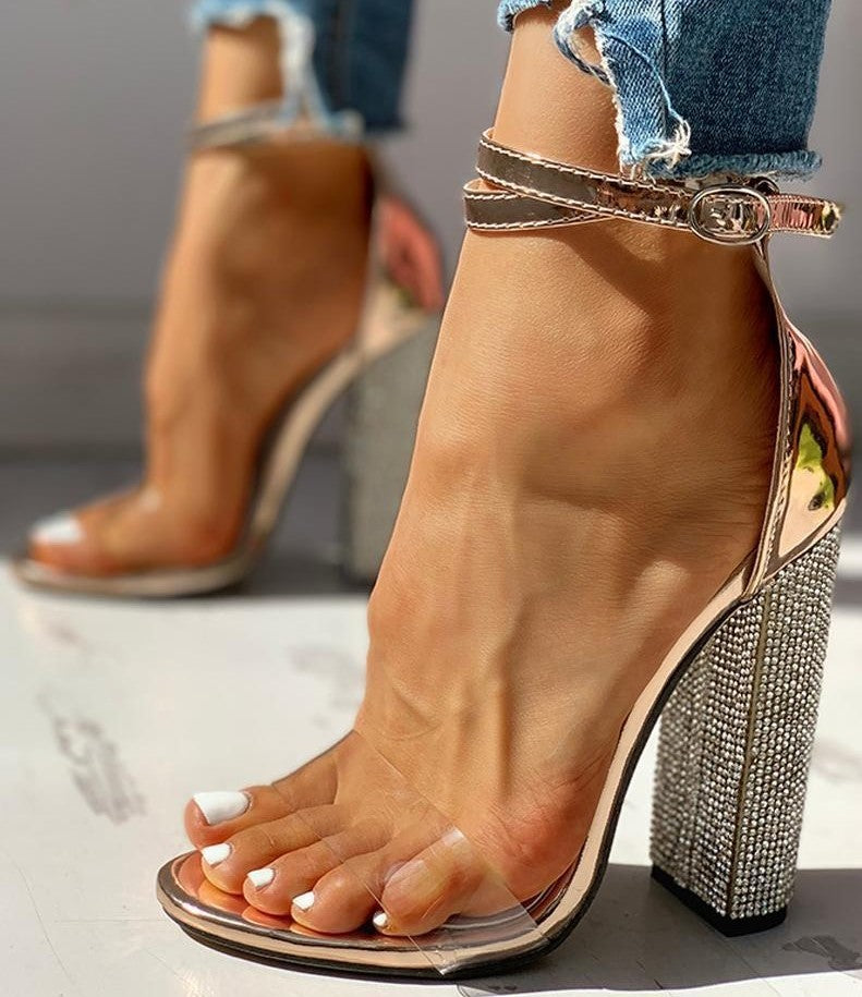 Sexy 2021 High Heels Women Pumps Gold Rhinestone Heels Ladies Shoes Classic Pumps Plus Size 35-43 Shoes Women Buckle Strap Sandals