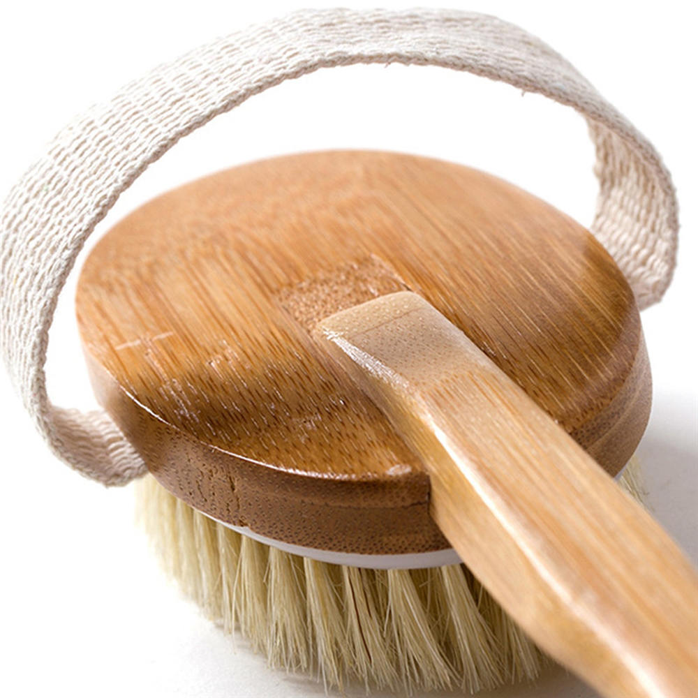Natural Wooden Body Long Brush Scrubber for Body Treatment and Massager Bath Shower