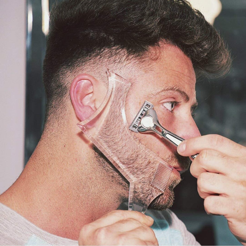 Men Beard Shaping Styling Template