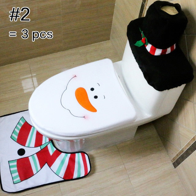 Toilet Foot Pad And Seat Cover Cap Christmas Decorations