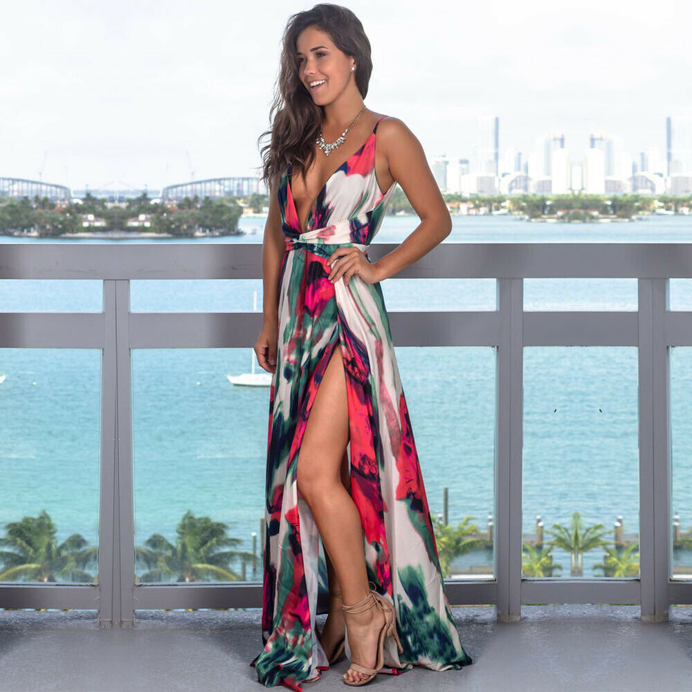 V-Neck Sleeveless Floral Long Dress