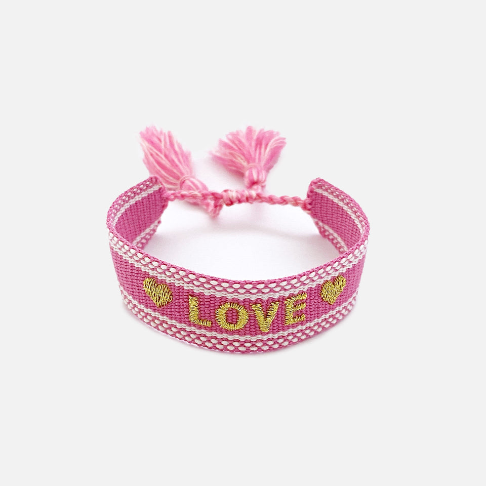 Webarmband Love, Pink/Gold