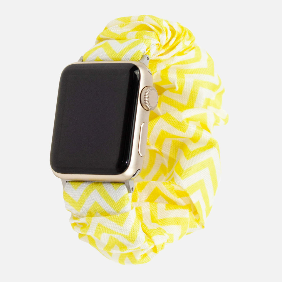 Scrunchie-Uhrenarmband für Apple Watch, Yellow Triangles