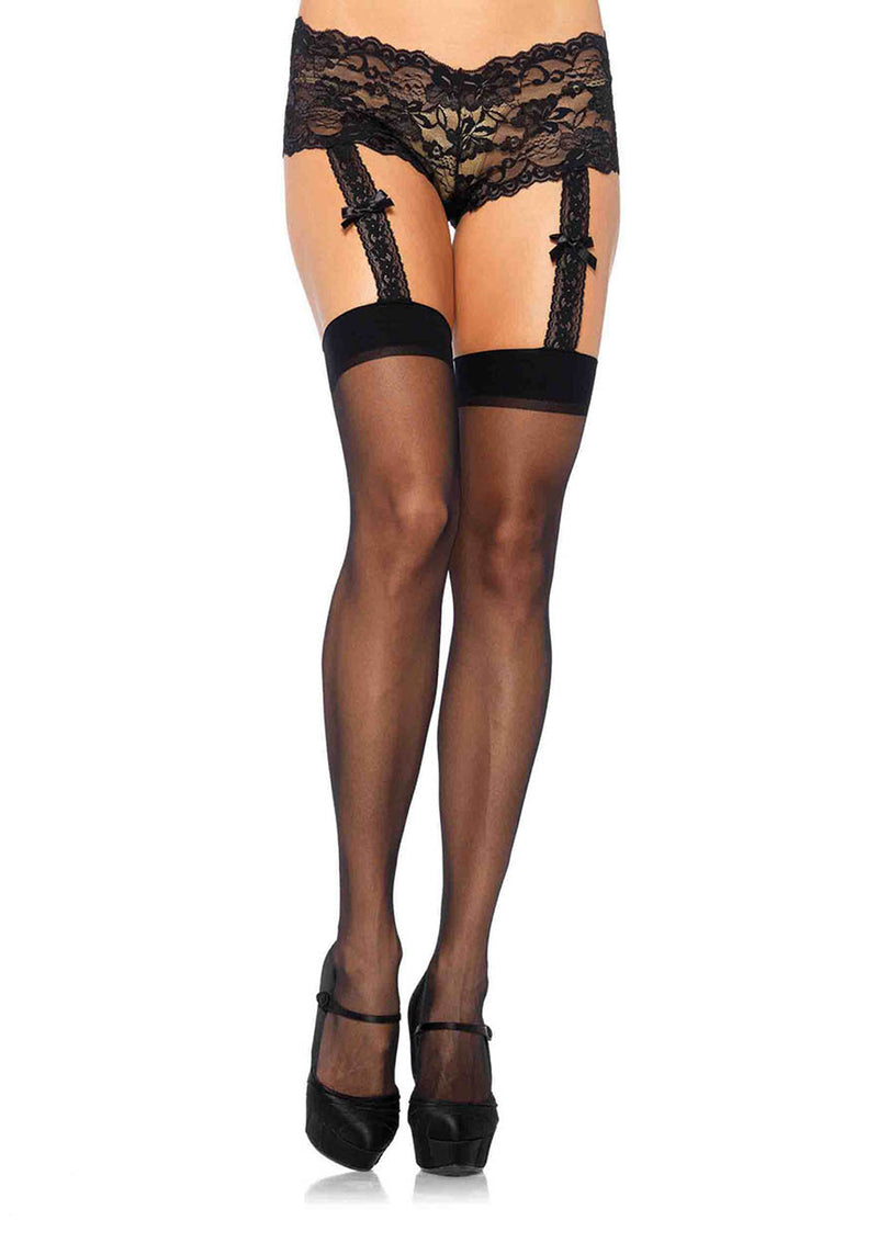 Sheer stockings with attached