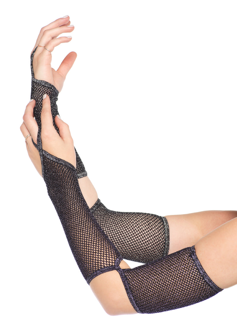 Lurex net gauntlet arm warmer