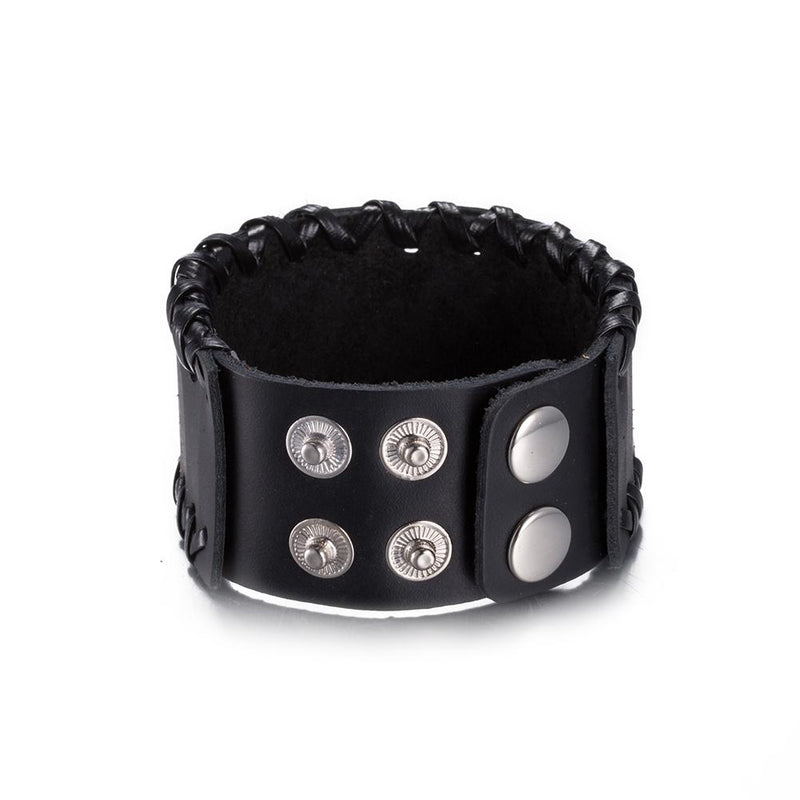 Leather Bracelet with Stainless Steel - Darkest Hour Apparel