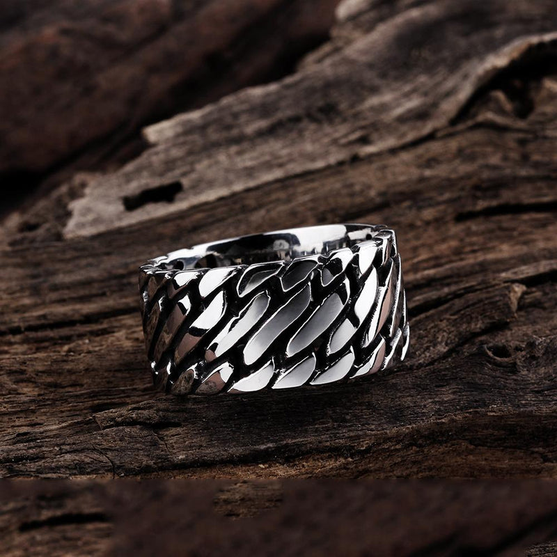 316L Stainless Steel Thick Cut Curb Link Men's Ring - Darkest Hour Apparel