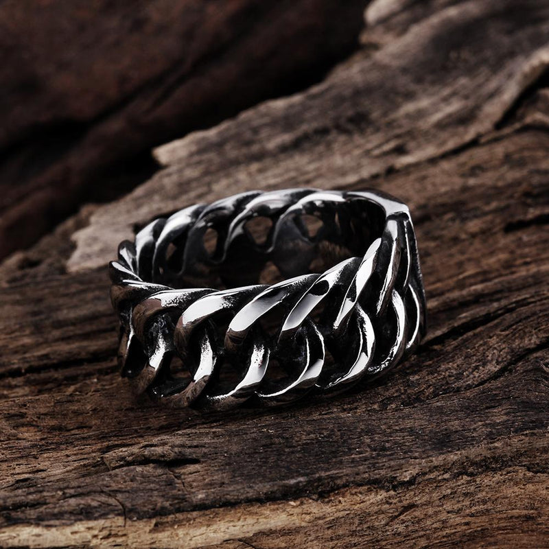 316L Stainless Steel Belt Curb Link Men's Ring - Darkest Hour Apparel