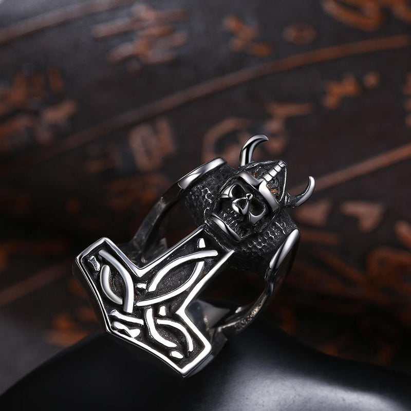 316L Stainless Steel Skull Anchor Men's Ring - Darkest Hour Apparel