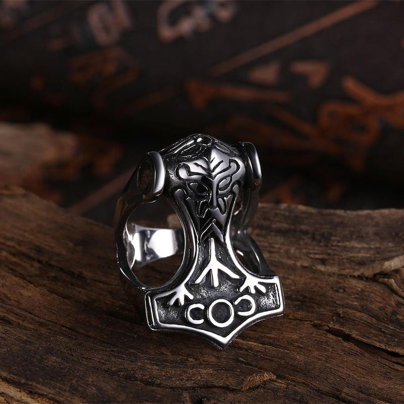 316L Stainless Steel Wood Anchor Men's Ring - Darkest Hour Apparel
