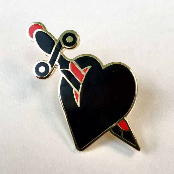 Heart and Dagger Enamel Pin
