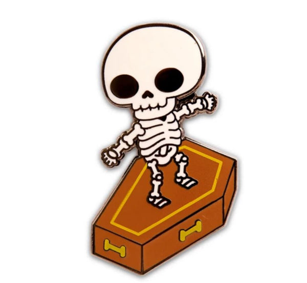Skull Coffin Surfer Enamel Pin