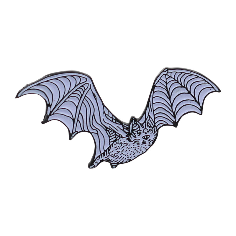 Bat Enamel Pin - Glow-in-The-Dark White Bat Lapel Pin - Darkest Hour