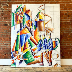 Large 1970's Cubism Artwork