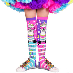 Ilama drama, socks, knee high socks, skating socks, pink, blue