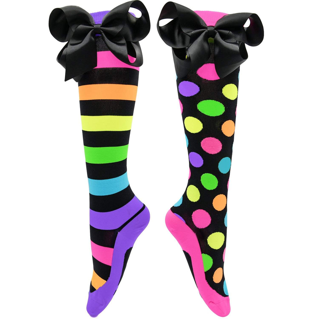 Madmia - Liquorice Bows Knee High Socks - jemandashop