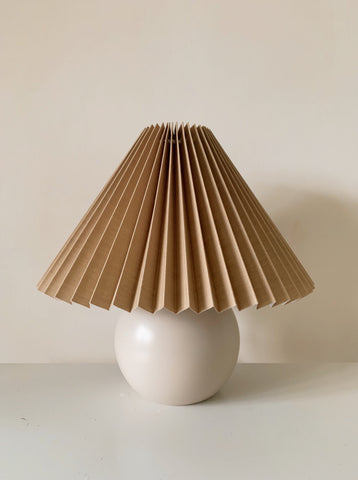 Wooden Lamp with Pleated Beige Shade