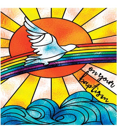 A dove flying in front  of a rainbow with text, on your baptism.