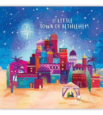 A colourful city of Bethlehem under the night sky, Text reads: O Little town of Bethlehem.