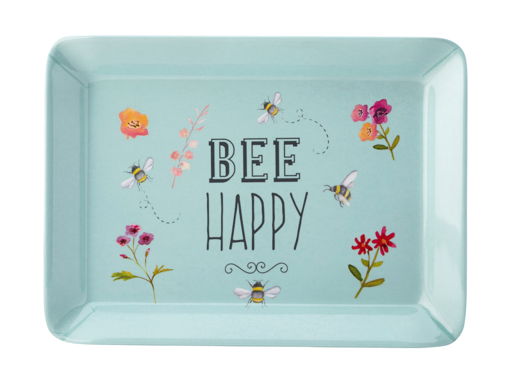 A blue tray with bee happy. Flowers and bumble bees surround the centre text.