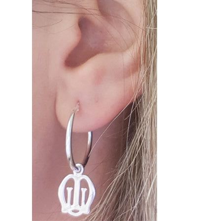 Sterling Silver MU Hoop Earrings