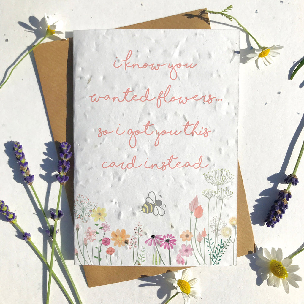 Meadow Flower and Bee Seeded Card