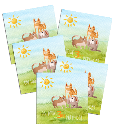 3rd Birthday card with cats and dogs, 5 pack