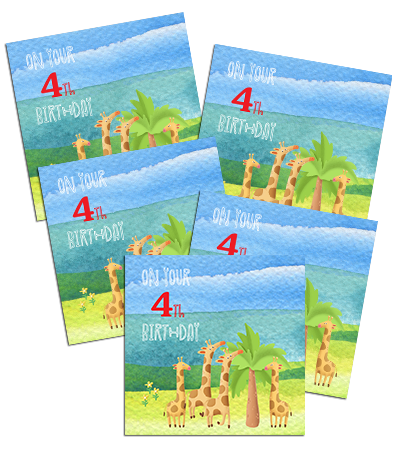 4th Birthday card with a group of giraffes, 5 pack