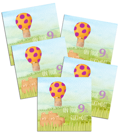 9TH Birthday card, 5 pack