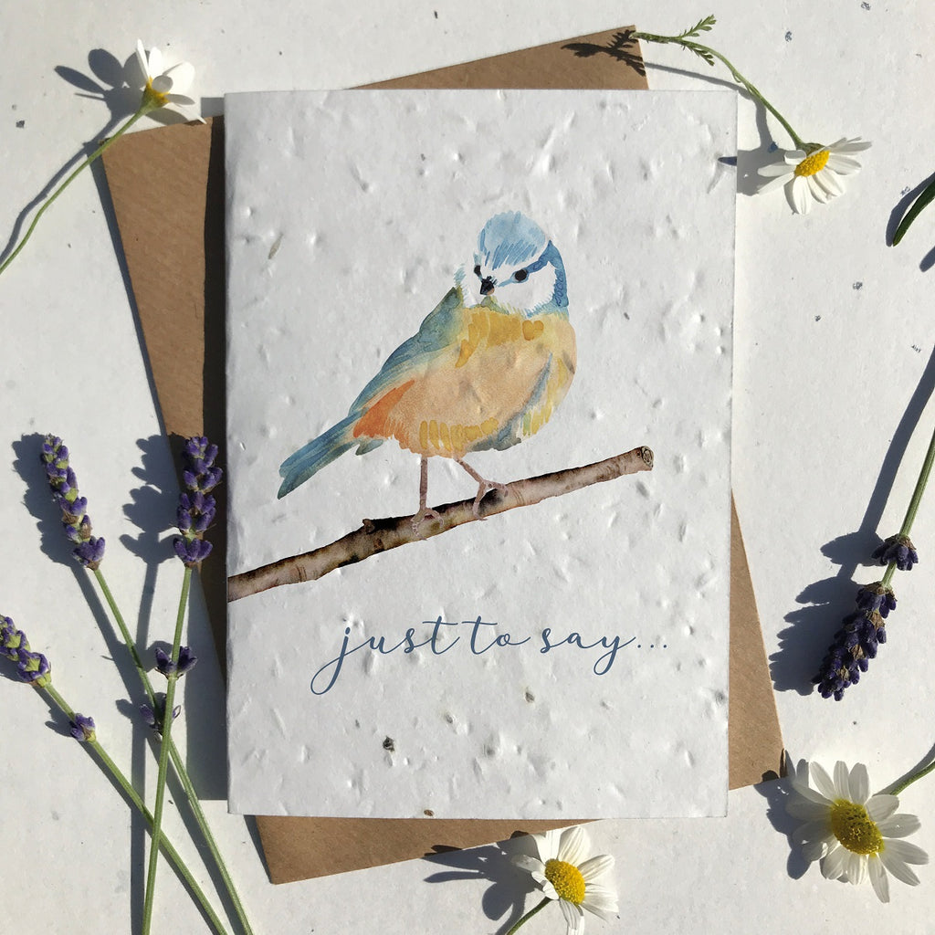 Blue Tit Seeded Card