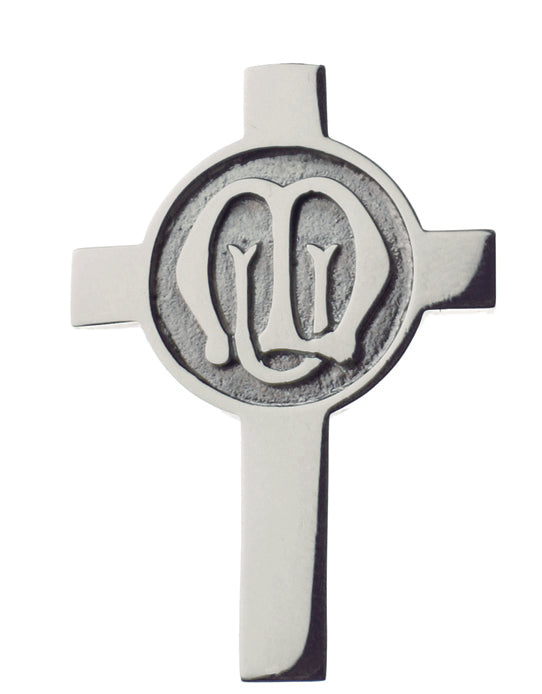 STERLING SILVER CROSS AND LOGO BADGE JF0124