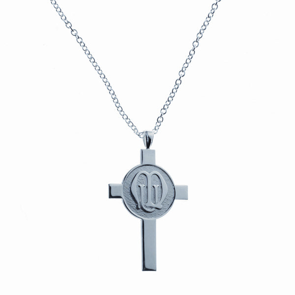Sterling Silver Cross & Logo Pendant and Chain JF0002