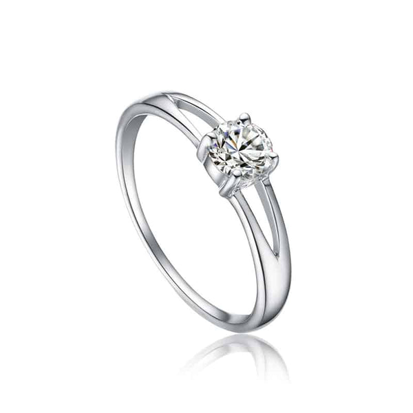 Zilveren Open Solitaire Ring