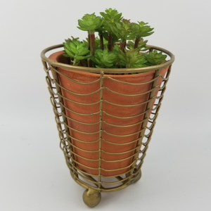 TERRACOTTA PLANTER WITH WIRE WRAP AND BRASS DETAIL - E